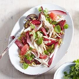 Salad with Freekeh, Pulled Chicken, Beetroot and Grapefruit