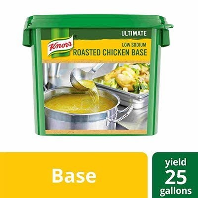 Knorr® Professional Ultimate Low Sodium Chicken Bouillon Base 4 x 5 lb - Excess salt in bases masks the true flavor of soups