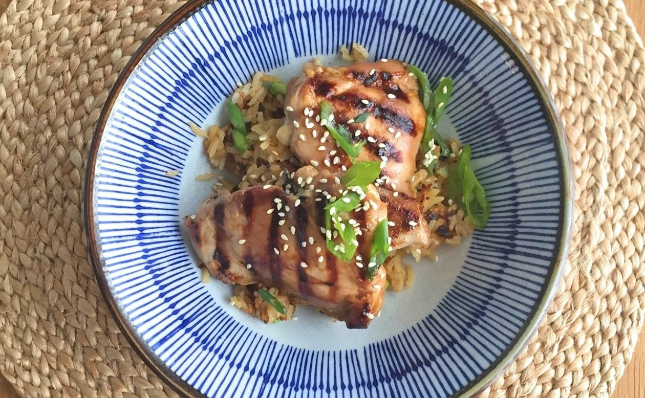 Japanese Rice with Chicken Yakitori