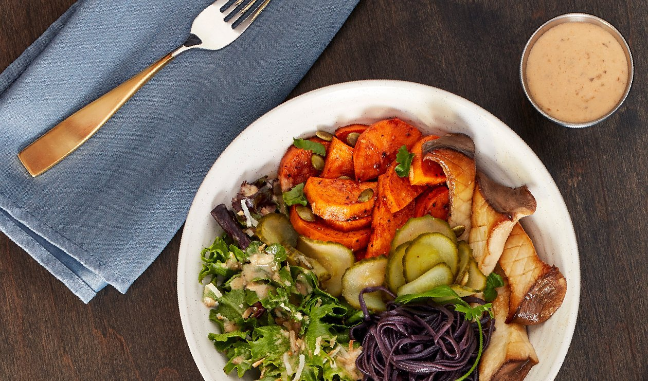 Roasted Sweet Potato and Black Soba Noodle Bowl with Coconut Almond Hatch Chile Dressing