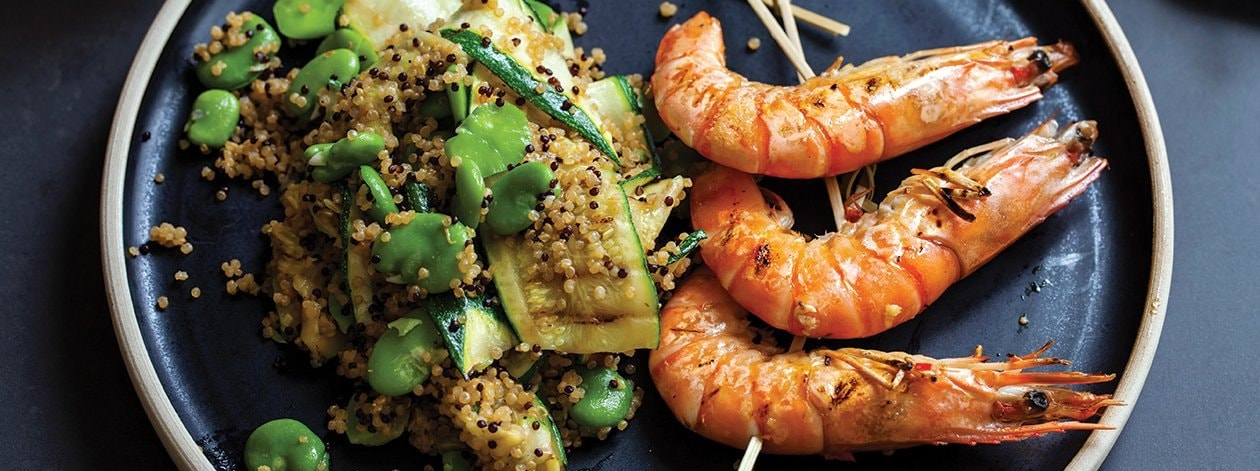 Quinoa and Grilled Prawns