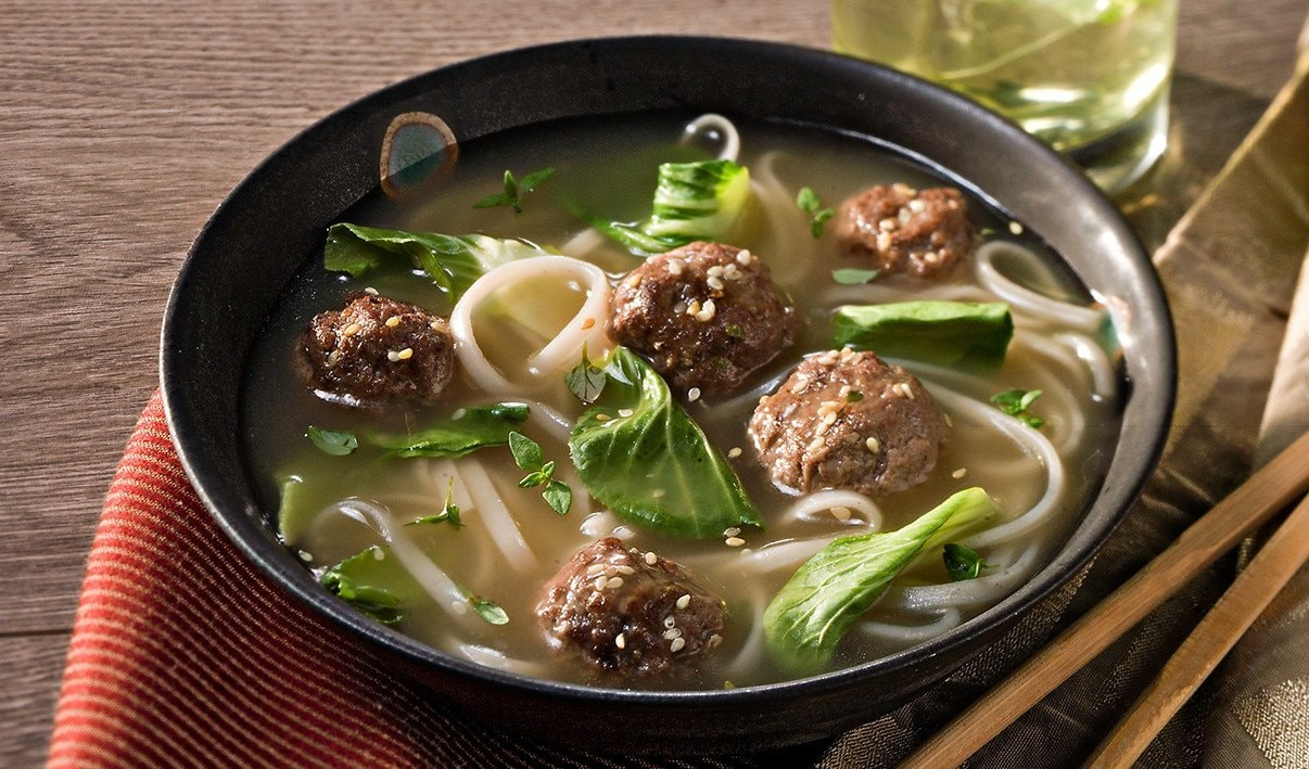 Asian New Year Meatball and Baby Bok Choy Soup