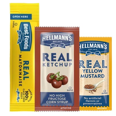 Hellmann's®/Best Foods® Mayonnaise, Ketchup and Mustard Stick Packs - Made with real, simple ingredients from the brand you trust.