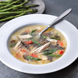 Asparagus and Morel Mushroom with Chicken Soup