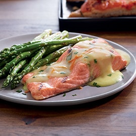 Salmon and Asparagus with Orange Ginger and Chive Sauce